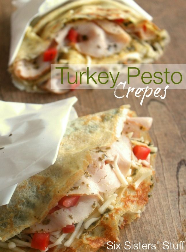 Turkey Pesto Dinner Crepes from SixSistersStuff.com