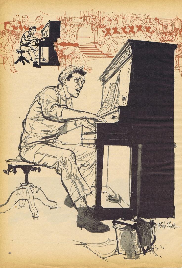 Piano Player - Illustrator Bob Peak (1927-1992)