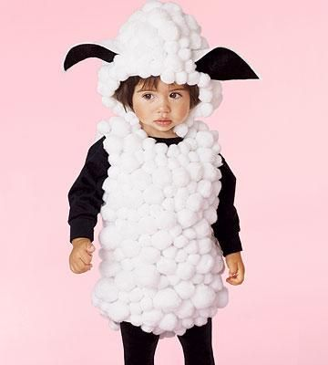 You're going to need a crapload of cotton wool for this cute lamb costume http://www.parents.com/holiday/halloween/costumes/homemade-halloween-costumes/?utm_content=bufferfe358&utm_medium=social&utm_source=pinterest.com&utm_campaign=buffer #halloween #costume