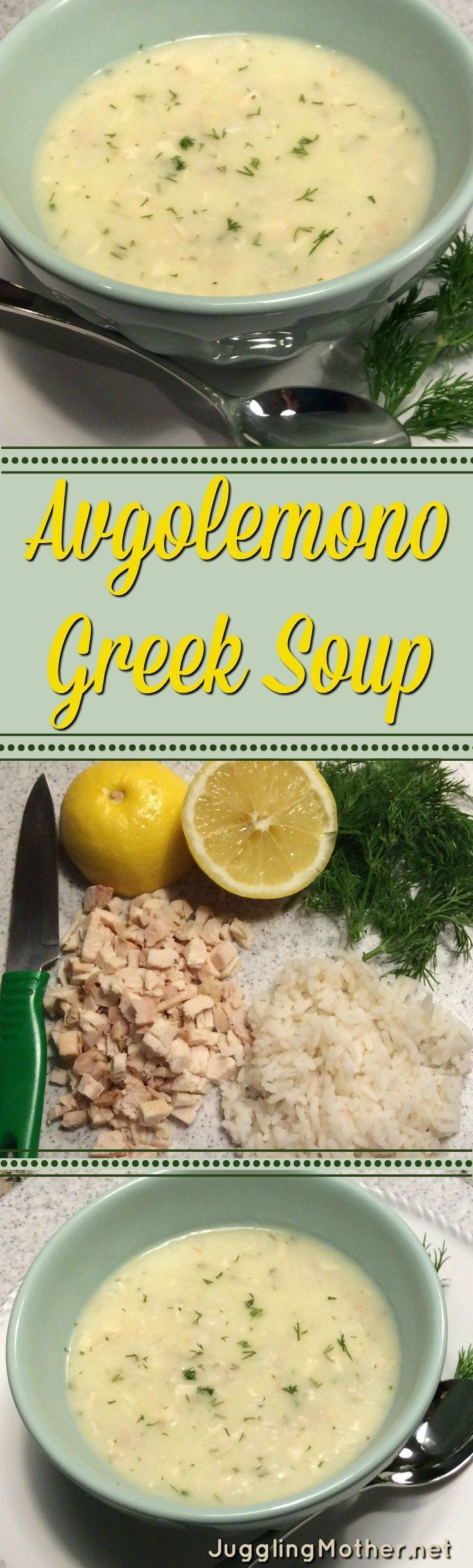 This creamy and delicious Greek soup, Avgolemono, get its name from egg-lemon. Eggs and rice help thicken the soup, lemon and dill give it a tangy, flavor.