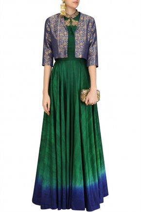 Rishi & Soujit  Bottle Green Flared Tunic with Persian Blue Crop Jacket #Rishi&Soujit#ethnic#shopnow #ppus #happyshopping