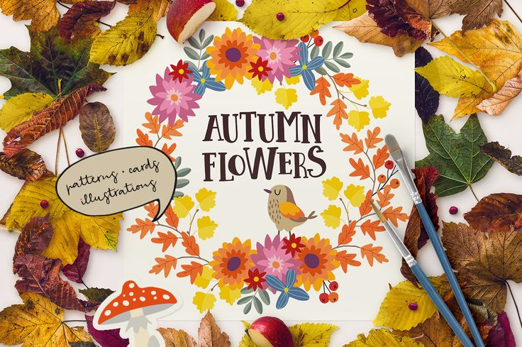 elcome Autumn! With  the huge Autumn flowers graphic pack  you can create your greeting cards, wedding, birthday, Thanksgiving invitations or decorate your gifts, crafts or website in a minute! Just combine the seamless patterns and graphic objects, that you like, the possibilities and variations are endless – the pack contains 99 elements – animals, flowers, leaves, bouquets, wreath, fruit mushrooms etc !