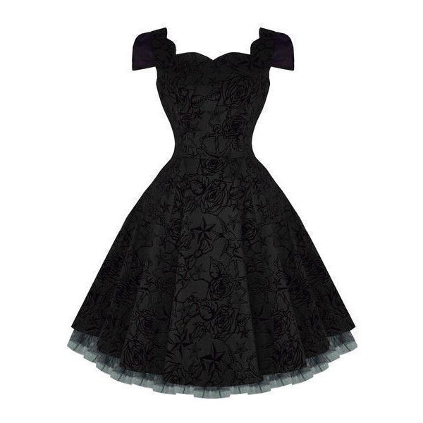 Hearts and Roses London Black Tattoo Flare 50s Vintage Party Prom... ($59) ❤ liked on Polyvore featuring dresses, vintage cocktail dresses, vintage dresses, vintage swing dress, goth dress and gothic prom dresses