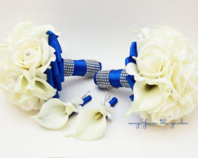 Azul Royal boda flor paquete de Dama de honor Ramos padrino o Stephanotis seda verdadera del tacto rosas tacto verdadero alcatraces