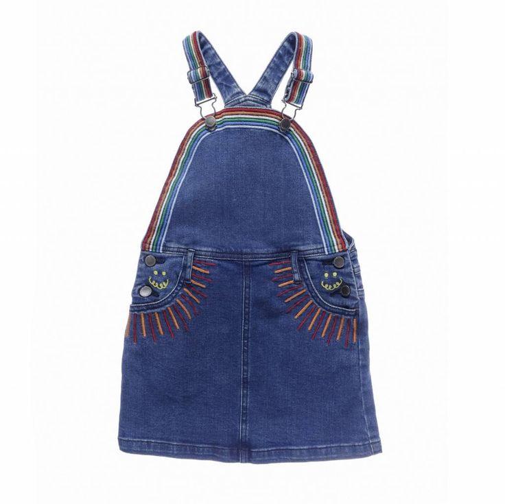 Sunflower Woven Dress Dark Blue Denim - Stella McCartney Kids Kleur : Denim met gekleurde details Materiaal :