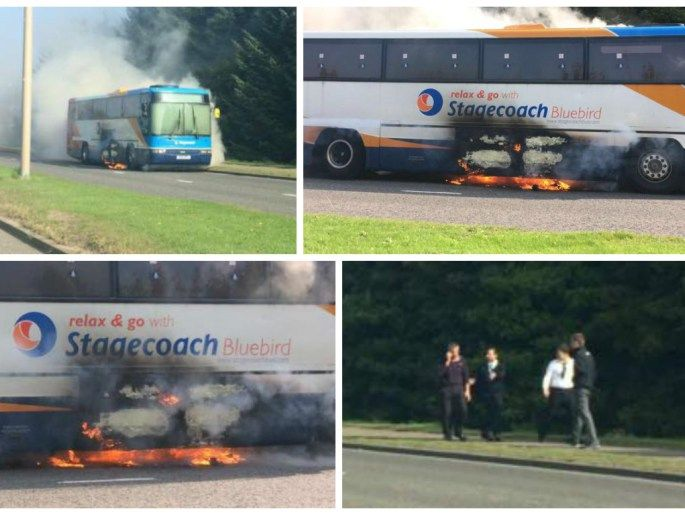 PICTURES: Stagecoach bus bursts into flames on major Aberdeen road - Press and…