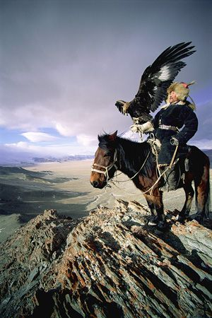"Kazakhstan proverb: ""There are three things a real man should have: a fast horse, a hound, and a golden eagle."" There are an estimated 250 Kazakh eagle hunters in the Bayan-Ölgii Province of Mongolia. In the first week of October, eagle hunters gather for the annual Golden Eagle Festival of Mongolia."