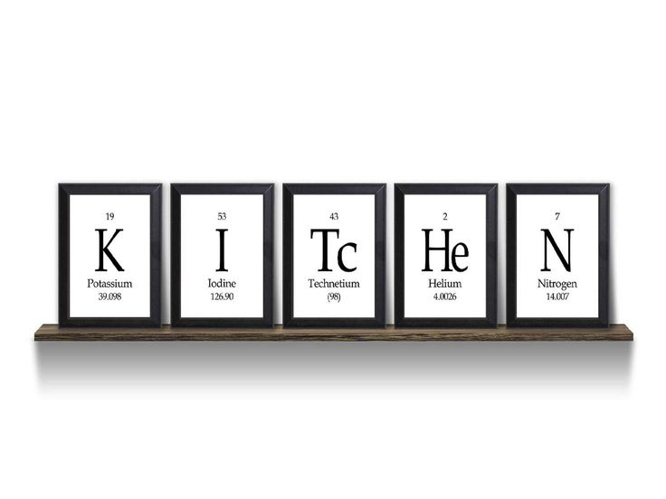 "Kitchen Periodic Table Framed 5 Piece Wall Plaque Set  Each Plaque 5"" x 7"" - Geeky Home Decor"