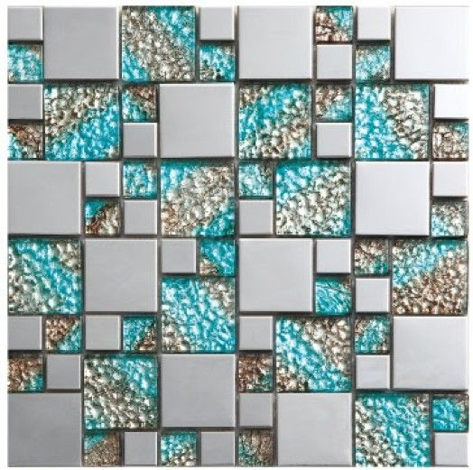 Azul de cristal de vidrio espejo de plata de metal for Mosaicos para espejos