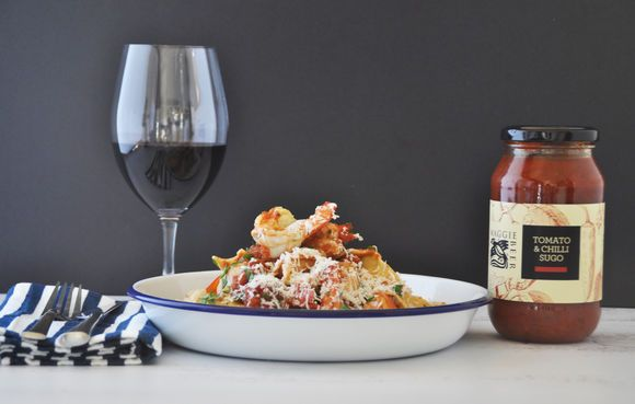 King Prawn Pappardelle with Tomato and Chilli Sugo - Maggie Beer