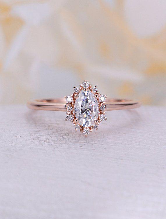 Vintage Verlobungsring Oval Moissanite Verlobungsring Rotgold Diamant Halo Hochzeit Schmuck Jubiläum Versprechen Tagesgeschenk für Frauen   – Wedding