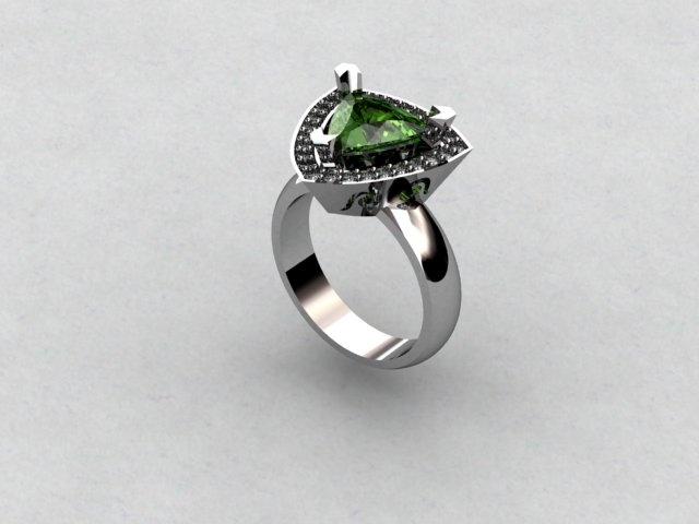 SOLD, Neon Green Tourmaline Ring.