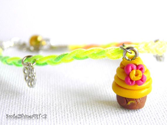 Polymer clay cupcake charm bracelet Miniature by Smile2ShineArt