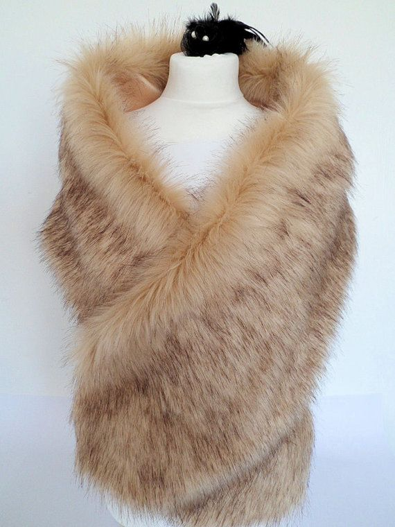champagne fur stole fawn fur shawl beige faux fur fake fur