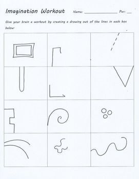 IMAGINATION WORKOUT CREATIVITY TEST DRAWING SUB ART LESSON PLAN DOODLE WORKSHEET - TeachersPayTeachers.com