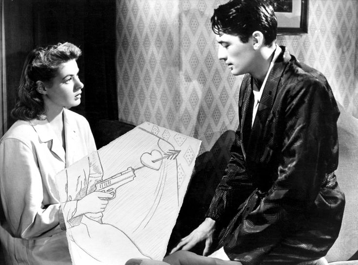 Black and white 1950's film still with illustration