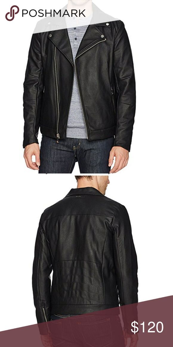 Calvin klein faux leather motorcycle jacket Worn 2x to some holiday functions... i got it 2 weeks ago so it still looks new   Face: 100% Polyurethane; Back: 85% Rayon, 15% PolyesterImportedZipper closureDry Clean OnlyFeaturing moto-inspired stylingRegular fitFlap collar, asymmetrical front zip closure  polo ralph lauren nike lacoste jordan jordans gucci chanel tori burch armani versace dolce gabbana Louis vuitton calvin Klein levis northface adidas under armour yeezy leather bomber watch…
