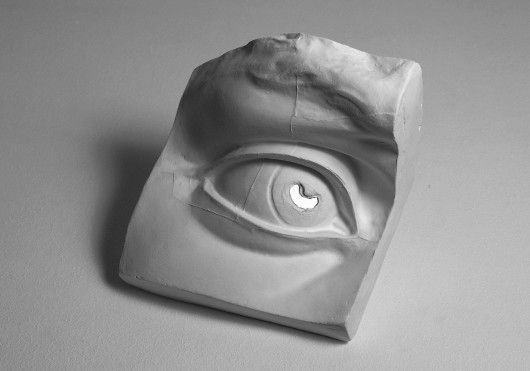 Elegia (Elegy), 1969  Giulio Paolini (1969), Plaster cast with fragment of mirror, matt white plinth