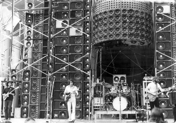 "The Wall of Sound was an enormous public address system designed specifically for the Grateful Dead's live performances by audio engineer Owsley ""Bear"" Stanley. Used in 1974, the Wall of Sound fulfilled the band's desire for a distortion-free sound system that could also serve as its own monitoring system. The Wall of Sound was the largest concert sound system built at that time. [ #DeadHead #psychedelic #60s #70s ]"