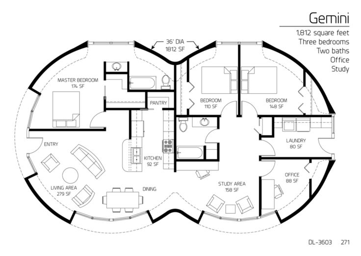 Three Bedroom Monolithic Dome Home Floor Plan Designs.