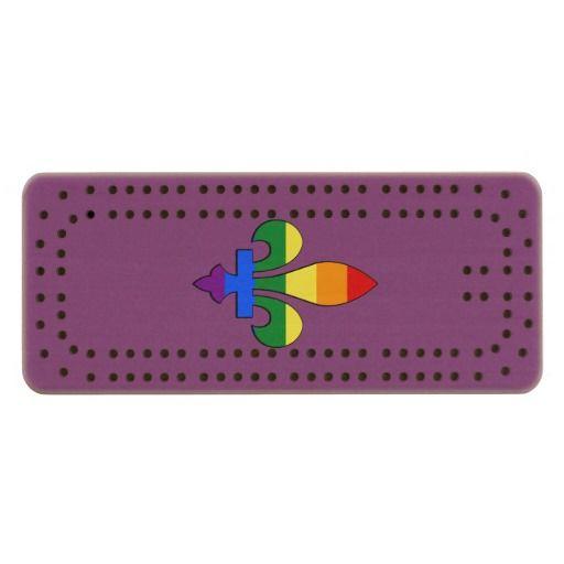 LGBT pride fleur-de-lis Maple Cribbage Board