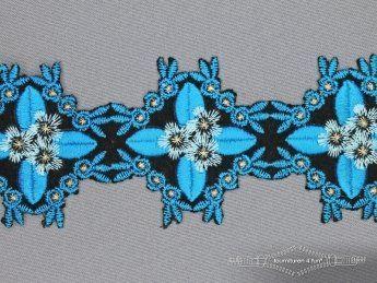Jacquard band 60mm bloem hemels blauw