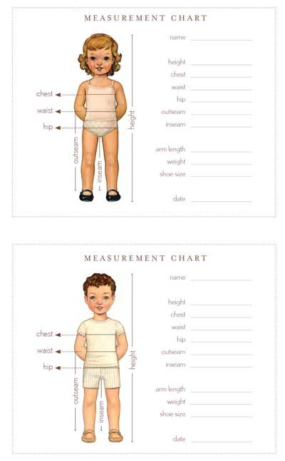 wallet-sized measurement chart: a little holiday gift for you | Blog | Oliver + S.       We know how helpful it can be to have the measurements of your little one handy, so we've made up a wallet-sized measurement chart that you can print out, trim down, and fold up.