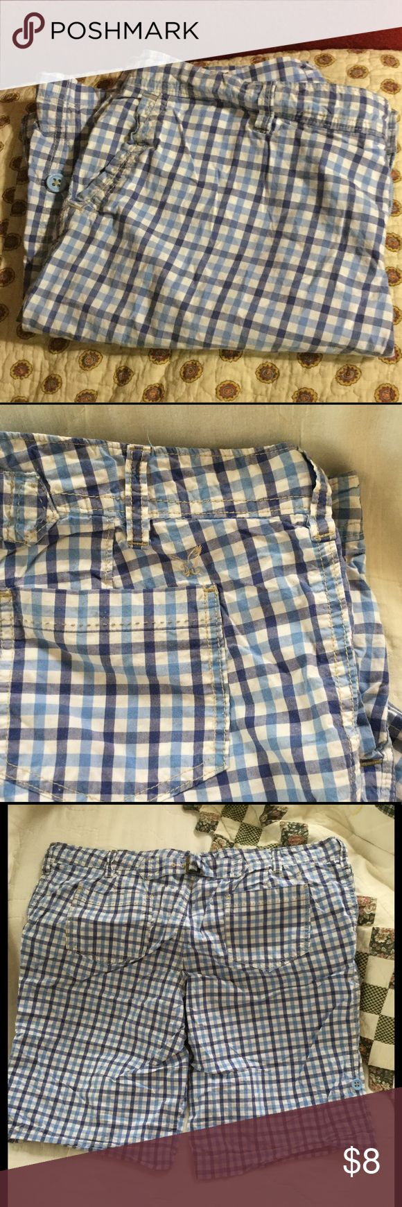 AE Outfitters..live your life Blue checkered lowrise Bermuda shorts by AE OUTFITTERS ...has button & tabs on legs to roll up for a shorter wear...size 16 American Eagle Outfitters Shorts Bermudas