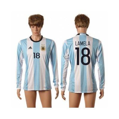 Argentina 2016 Lamela 18 Hjemmebanetrøje Langærmet.  http://www.fodboldsports.com/argentina-2016-lamela-18-hjemmebanetroje-langermet.  #fodboldtrøjer