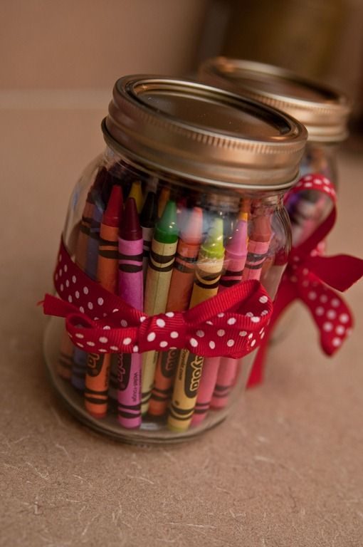 ** Cute to put the crayons etc in mason jars / kids art table... i kind of like this idea..   for kids at a wedding