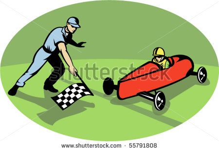 vector illustration of a Soap box derby racing winning finish line with man waving checkered flag. #soapboxderby #etro #illustration