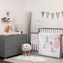 Remember sweeter days gone by with the Carter's - Woodland Meadow -Piece Infant Bedding Set! This stylized set starts with a double-sided comforter featuring retro trees, a deer, and an owl on a quilted background on one side and a geometric pattern in peach on the other. Turn back the comforter to reveal a white fitted sheet with a pattern of retro trees and forest friends in dusty shades of peach and aqua. A coordinating dust ruffle in a retro print edged in aqua completes this sweet se...