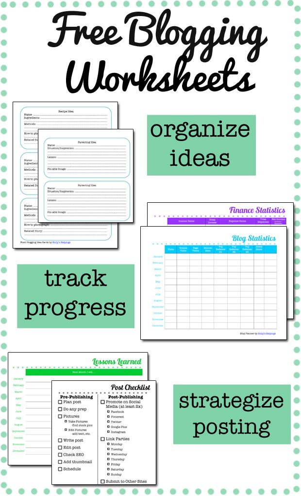 FREE Blog Planning Worksheets - Holly's Helpings