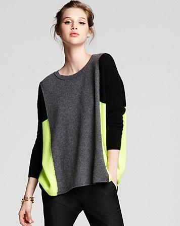 Aqua Cashmere Sweater - Lila Three Color Block Boxy Pullover: a splash of creativity
