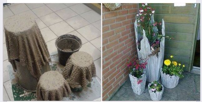 With cement and old towels