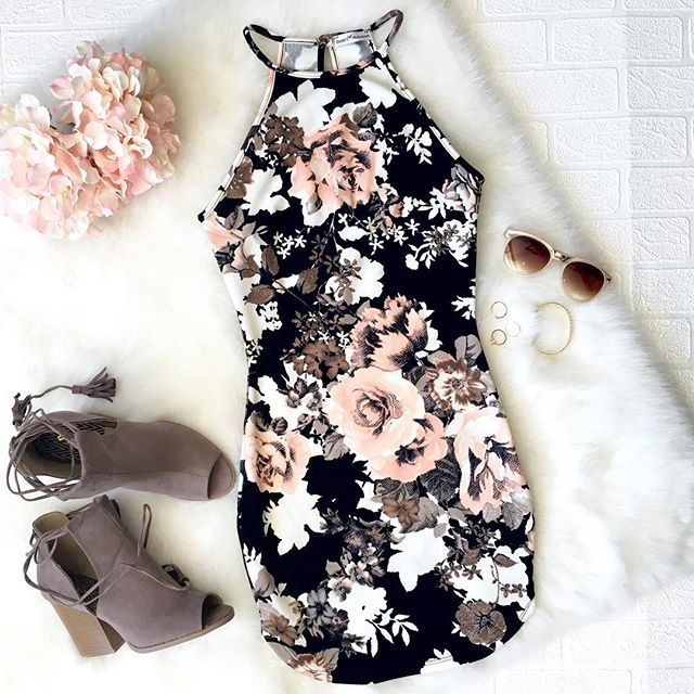 day-to-night fabulous featuring our 'Midnight Floral Dress' paired with 'Stacked Bootie Heels ' www.DaintyHooligan.com