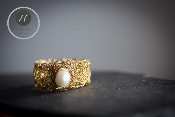 Gold Crochet Pearl Ring freshwater pearl by HelenaBausJewellery