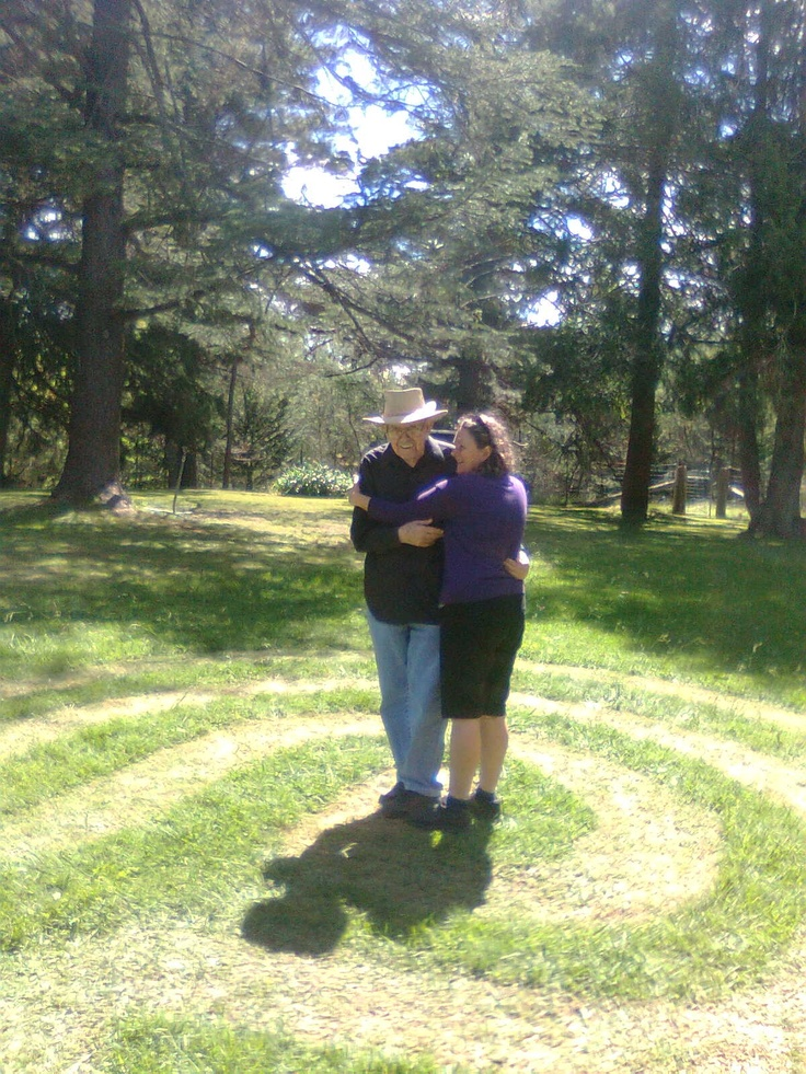 3 path mown grass labyrinth at Chevy Chase, Armidale (and Julie and Joe).