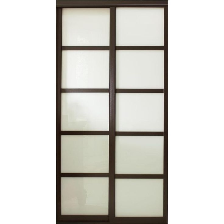 Contractors Wardrobe 72 in. x 81 in. Tranquility Glass Panels Back Painted White Interior Sliding Door with Espresso Wood Frame-TR5-PSW7281ES2R - The Home Depot