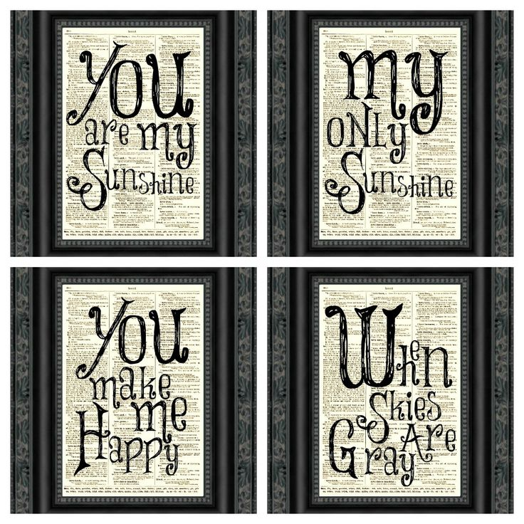 You Are My Sunshine Dictionary Print Set by reimaginationprints, $24.00