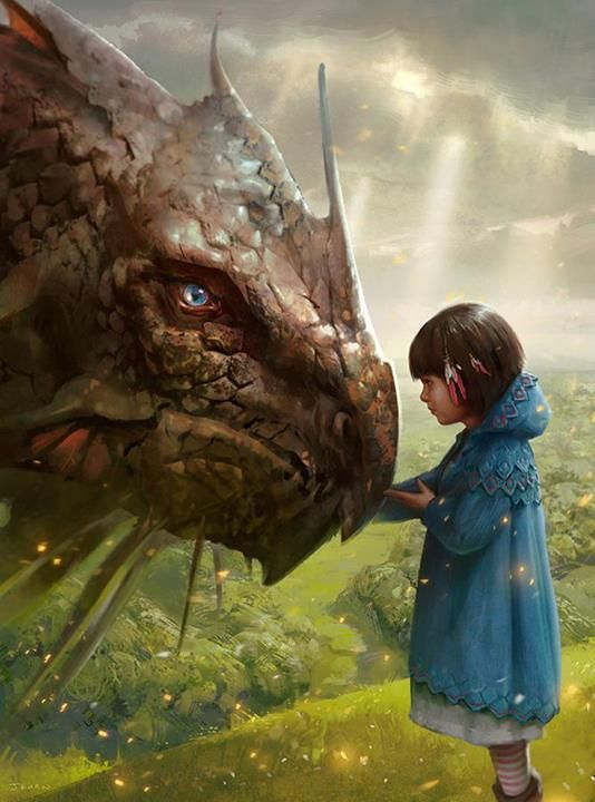 Little girl with her blue hood, and a dragon