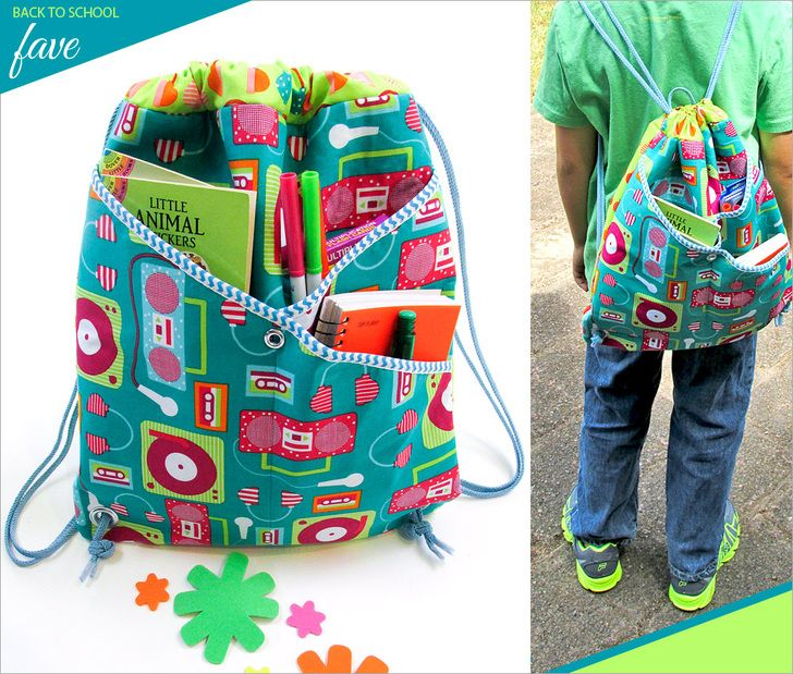 String Style Backpack with Front Crossover Pockets   Sew4Home @sew4home