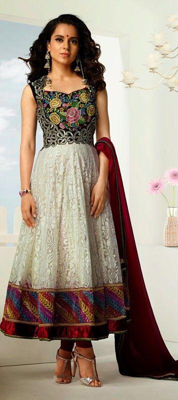 410855, Bollywood Salwar Kameez, Net, Brasso, Lace, Resham, Silver Color Family