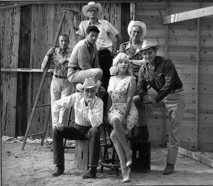 Elliott Erwitt:: Film set of The Misfits by John Huston, with US actors Marilyn Monroe, Clark Gable, Montgomery Clift and Eli Wallach and writer Arthur Miller. Reno, Nevada, 1960.