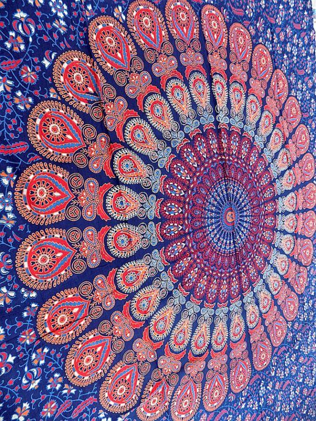 blue mandala hippie tapestry, hippie wall hanging tapestries, bohemian tapestries, twin mandala home decor