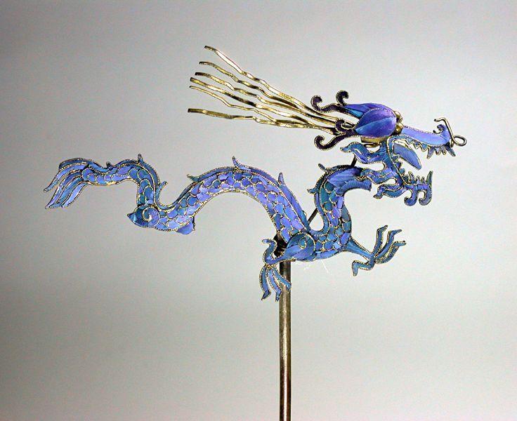 Этнические украшения. Головные китайские украшения из перьев зимородка.