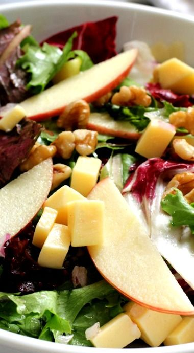 Apple Gouda Walnut Salad-- very tasty!  I used smoked Gouda.  Dressing is neutral so pairs well with most things.  I toasted the walnuts for more depth of flavor.  Didn't use onions but it would be good with them.  My husband asked if it had bacon in it.  I think the smoked Gouda gave it that flavor!  (Trb)