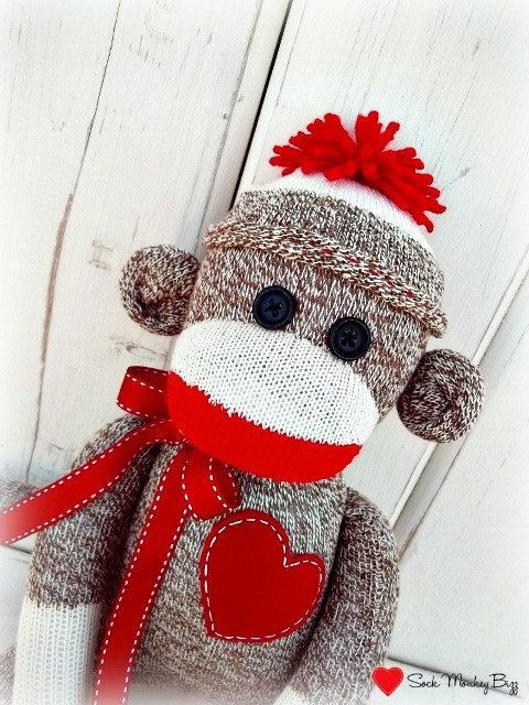 Traditional Sock Monkey Doll - perfect decorator item for sock monkey themed nursery or toddler room.