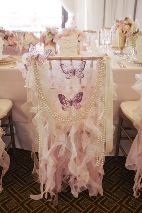 adorable girl baby shower curly willow chair sleeve with butterflies pearls