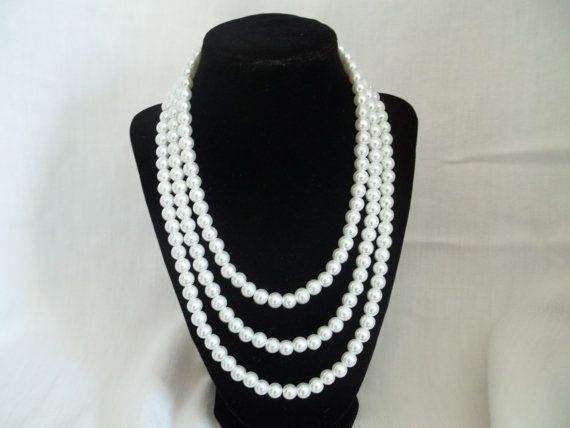 3 strand pearl necklace by Beadit669 on Etsy, $40.00